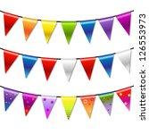 rainbow bunting banner garland  ... | Shutterstock . vector #126553973