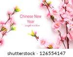plum flowers blossom on white... | Shutterstock . vector #126554147