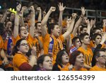 VALENCIA - JANUARY 29: supporters of valencia during Bakestball match between Valencia Basket Club and Uxue Bilbao, on January 29, 2013, in La Fonteta Stadium, Valencia, Spain - stock photo