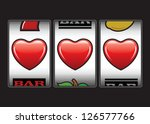 Triple hearts Valentine slot machine - stock vector