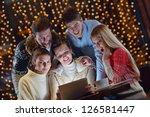 group of happy people looking... | Shutterstock . vector #126581447