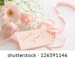 gerbera daisy bouquet and thank you card - stock photo