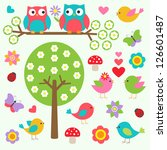 birds and owls in spring forest.... | Shutterstock . vector #126601487
