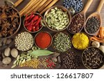 spices and herbs in metal ... | Shutterstock . vector #126617807