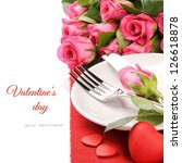 St Valentine's menu concept isolated over white - stock photo