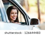Carefree Woman In Car Driving...
