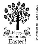 vintage card. easter egg tree.  ... | Shutterstock .eps vector #126646823