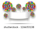 Lollipop Rainbow Party Banner - stock photo