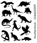 Collection of silhouettes of dinosaurs - stock vector