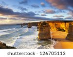 Twelve Apostles at sunset.  Great Ocean Road, Victoria, Australia. - stock photo