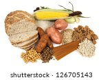 Food sources of complex carbohydrates, isolated on white. - stock photo