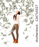 excited woman under a money... | Shutterstock . vector #126710327