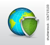 planet with shield. eps10 vector | Shutterstock .eps vector #126715133