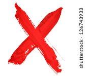 x   red handwritten letters... | Shutterstock . vector #126743933