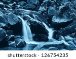 soft river in the park in the night - stock photo