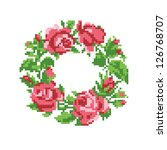 frame of roses, embroider - stock vector