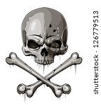 Decrepit skull with two crossed bones isolated on white. Tattoo style. EPS 8 vector illustration. - stock vector
