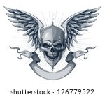 Skull with wings and ribbon. Tattoo style with grunge elements. EPS 8 vector illustration. - stock vector