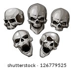 Set of skulls. Vector illustration. - stock vector