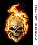 Burning skull on black background. Tattoo style. - stock vector