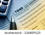 us tax form 1040 with pen and... | Shutterstock . vector #126809123