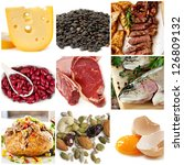 Food sources of protein, including cheese, lentils, red and white meat, kidney beans, fish, tuna, nuts and eggs. - stock photo