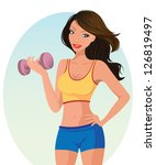 healthy fitness girl | Shutterstock .eps vector #126819497