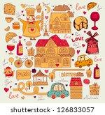 vector pattern with paris... | Shutterstock .eps vector #126833057