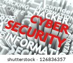 Cyber Security Concept. The Word of Red Color Located over Text of White Color. - stock photo