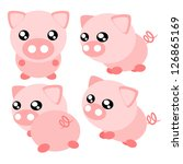 Cartoon pig action and emotion cute concept illustration - stock vector