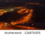 Jebel Hafeet Road at night.  AL AIN. United Arab Emirates - stock photo