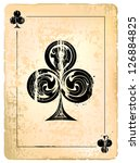 Ace of clubs. Vintage style with dirty grunge elements. - stock vector