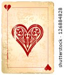 Ace of hearts. Vintage style with dirty grunge elements. - stock vector