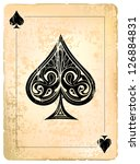 Ace of spades. Vintage style with dirty grunge elements. - stock vector