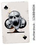 Poker card with skulls. Clubs. Grunge dirty style. - stock vector
