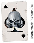 Poker card with skulls. Spades. Grunge dirty style. - stock vector