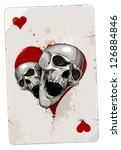 Poker card with skulls. Hearts. Grunge dirty style. - stock vector
