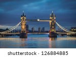 Tower bridge in the morning before sunrise - stock photo