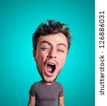 puppet yawning man with big head on blue background - stock photo