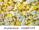 close up of buttery popcorn - stock photo