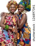 Two young beautiful African fashion models. - stock photo