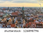 Nurember City View during time of famous Christmas market in winter - stock photo