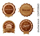 Chocolate Vintage Labels such a logo template collection.  Choco Luxury Retro design. Extra High quality Vintage. Vector. - stock vector