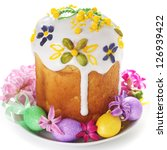 Easter cake and easter egg on isolated white background. - stock photo