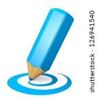Blue pencil drawing curved shape. Internet blogging concept. 3d illustration. - stock photo