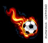 Burning soccer ball on black background. Vector illustration. - stock vector