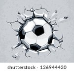 Soccer ball breaking the wall. EPS 8 vector illustration. - stock vector