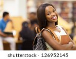 beautiful female african american university student portrait - stock photo