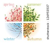 4 seasons in 1 tree | Shutterstock .eps vector #126953537