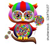 Owl Psychedelic Rainbow Lollipop - stock photo